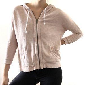 Aerie Blush 3/4 Sleeve Zip Up Hoodie Pink